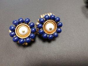Nina ricci Pendientes de clip color oro-azul oscuro