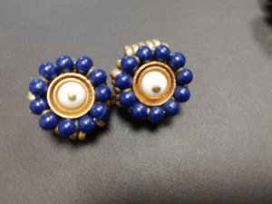Nina ricci Earclip gold-colored-dark blue