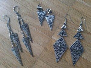 Ohrring Set h&m asos Silber Azteken Dreiecke 3 Paar Ohrhänger