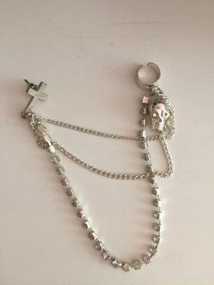 Ohrring Silber mit Clip kreuz totenkopf Strass Glitzer