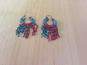 Boucles d'oreilles en perles rouge-bleu clair