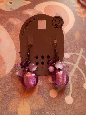 Six Pendientes colgante color plata-lila