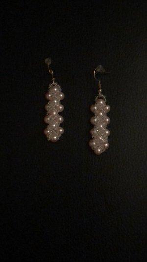 Pendientes de perlas color rosa dorado