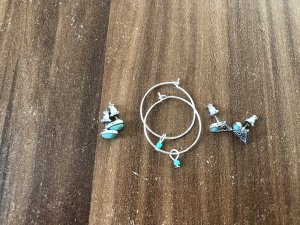 Ear stud silver-colored-turquoise