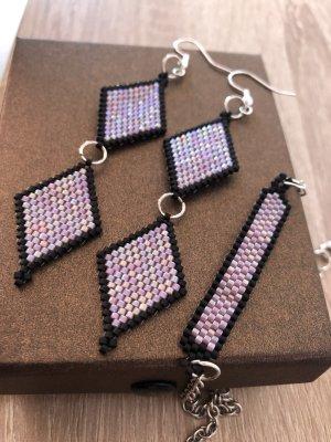Pendientes colgante negro-púrpura