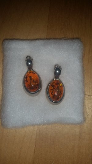 Earring cognac-coloured-silver-colored real silver
