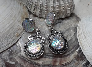 Ohrringe Boho Mermaid Meerjungfrau Fischschuppe Holographic Statement