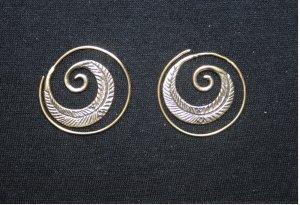 Ohrringe Bronze Brass Gypsy Psy Hippie Goa Spirale Schnecke