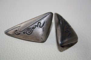 Earclip silver-colored-anthracite metal