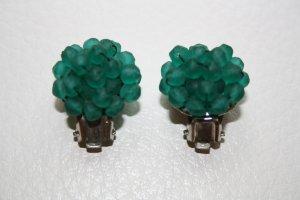 Ohrringe / Clipohrringe / Clip / Metall silber und grün / Modeschmuck