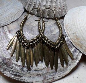 Ohrringe Creolen für Tunnel Boho Mandala Hippie Bronze Statement