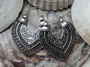 Ohrringe Creolen für Tunnel Boho Mandala Hippie Silber Statement Ethno