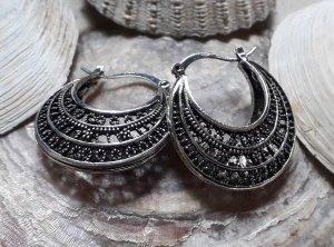 Ohrringe Creolen für Tunnel Boho Mandala Hippie Silber Statement Ethno Festival