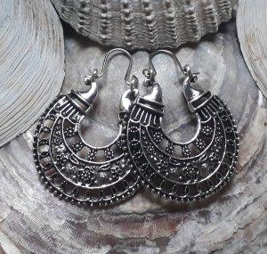 Ohrringe Creolen für Tunnel Boho Mandala Hippie  Statement Ethno Festival Silber