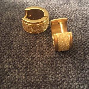 Ohrringe Creolen gold aus Edelstahl mit Glitzeroptik