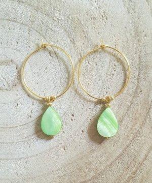 Bid Handmade Pendientes de oro color oro-verde claro