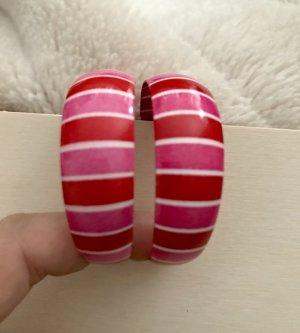 Ohrringe * Creolen * Streifen * Pink