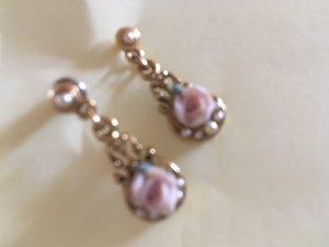 Boucles d'oreilles en perles noir-or rose