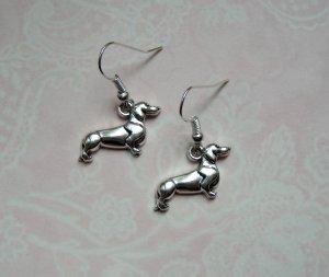 Ohrringe Dackel Hund Silber Vintage
