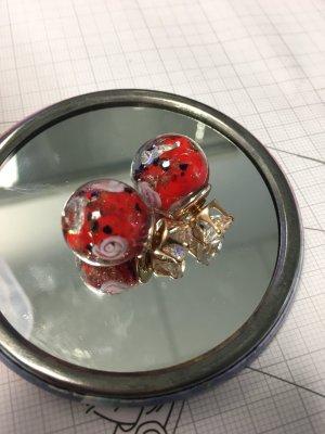 Ohrringe Doppelstecker Perlen rot Rosen gold nude