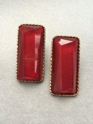 Ohrringe dunkelrot Gold Rot Blogger