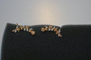 Ohrringe Earcuffs gold + Straß + Mondstein NEU