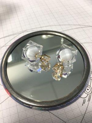 Ohrringe eckig weiß durchsichtig gold Stecker Doppelohrringe