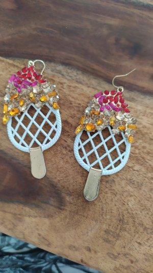Ohrringe Eis Form weiss mit Steinen  Modeschmuck neu
