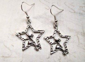 Ohrringe Elfe Stern Silberfarben
