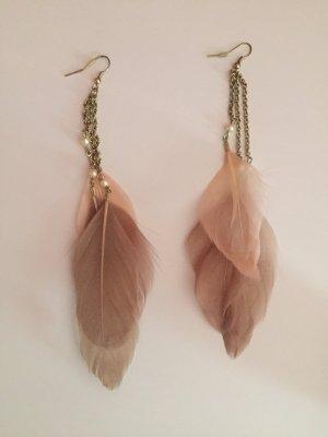 Ohrringe Federn vintage neu Perlen