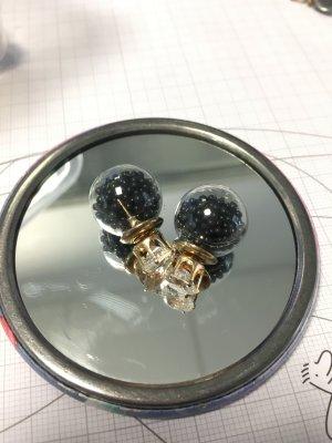 Ohrringe Glas schwarz Steinchen gold