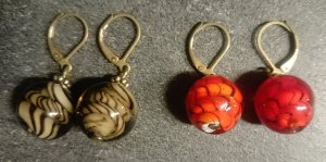 Ohrringe Glasperlen rot/braun