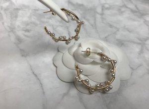 Ohrringe gold neu Kreolen Creolen rund Perlen