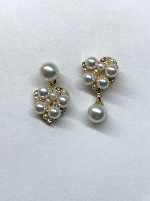 Ear stud gold-colored-natural white