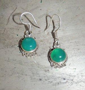 Ohrringe grüner Achat 925 Sterling Silber