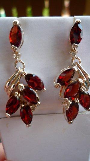 Orecchino a pendente argento-marrone-rosso Argento