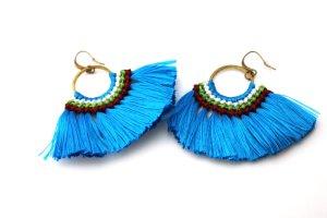 Ohrringe Hänger Indie Native Vintage Blogger Blau Hippie