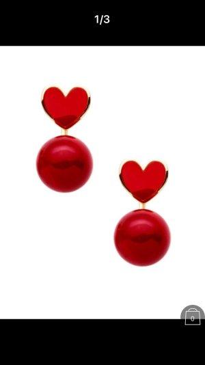 Ohrringe Herz Kugel Perle rot Modeschmuck
