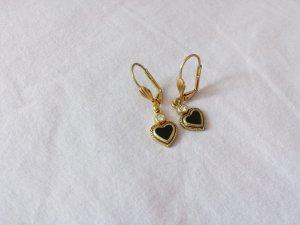 Ohrringe Herz schwarz/ gold