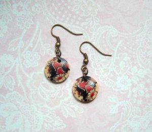 Ohrringe Herzen Holz Bronzefarben