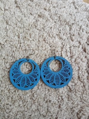 Ohrringe Holz blau