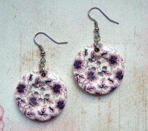 Ohrringe Holzknopf Blumen Lila Rosa