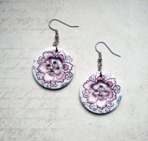 Ohrringe Holzknopf große Blüte Button Weiß Silber