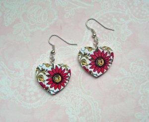 Ohrringe Holzknopf Herz pinke Blüten