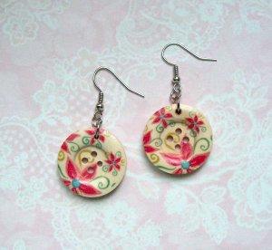 Ohrringe Holzknopf pinke Blumen