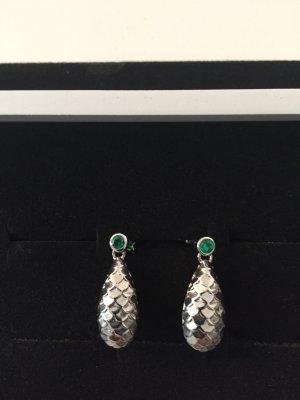 Ohrringe in Fischgrad mit grünen Stein von CAI