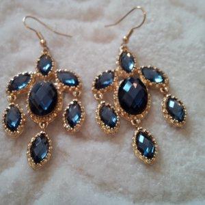 Pendientes colgante color oro-azul oscuro