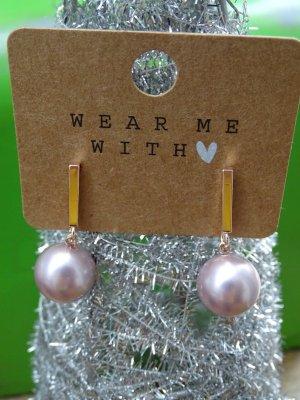 Boucles d'oreilles en perles beige-or rose