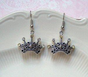 Ohrringe Krone Strass Silberfarben Vintage