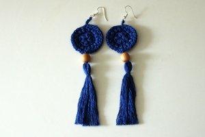 Statement Earrings blue cotton